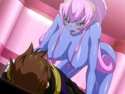 Blueskinned hentai beauty with purple hair